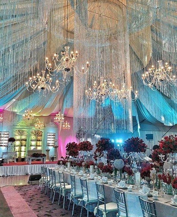 Unique Wedding Reception Ideas: A Rainbow Of Pastel Lighting And A Shower Of Crystals For