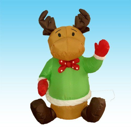 4 Foot Christmas Inflatable Sitting Reindeer Yard Blow Up Art - christmas blow up decorations