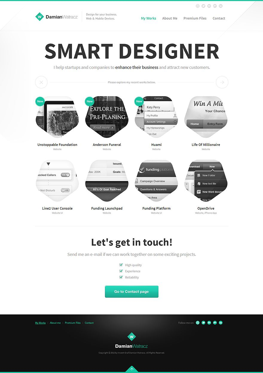 Damian Watracz Design Portfolio 2013 Light Grey Green Portfolio Web Design Minimal Website Design News Web Design
