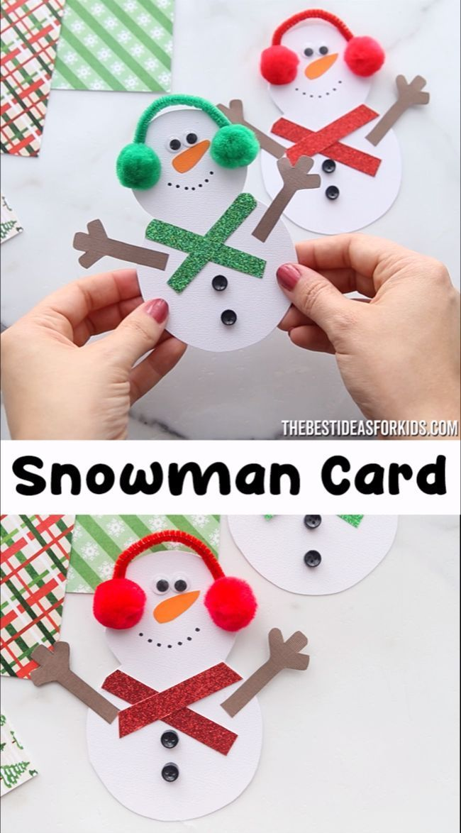 Snowman Card #craftprojects SNOWMAN CARD ⛄ - such a cute snowman craft for Christmas! Make this adorable snowman card with kids. #bonhommedeneige