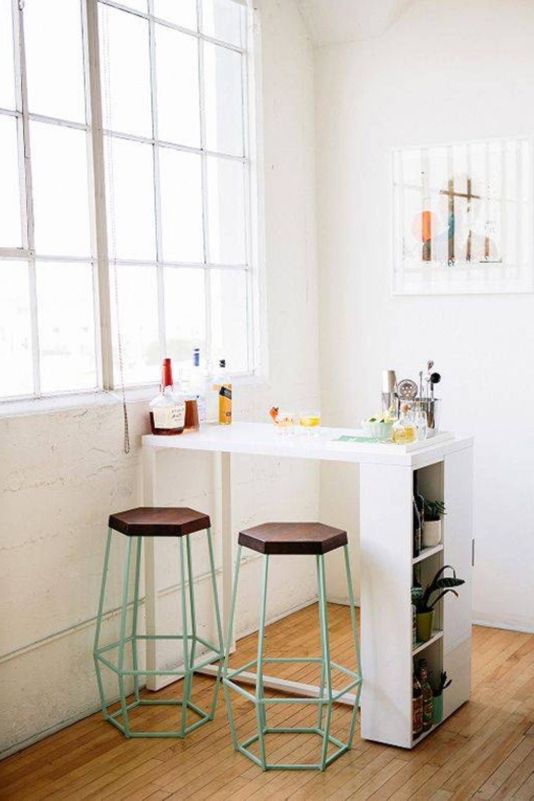 Small Kitchen Bar With Storage And Double Stools : Small Kitchen .