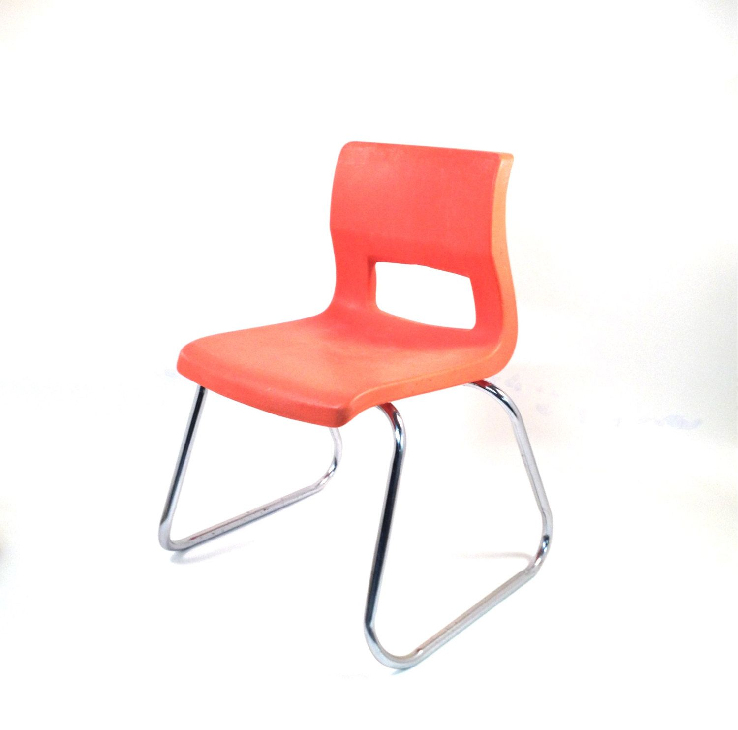 Mid Century Kids Chair In Orange / Metal Chrome / Molded Plastic / Peabody  School Chair