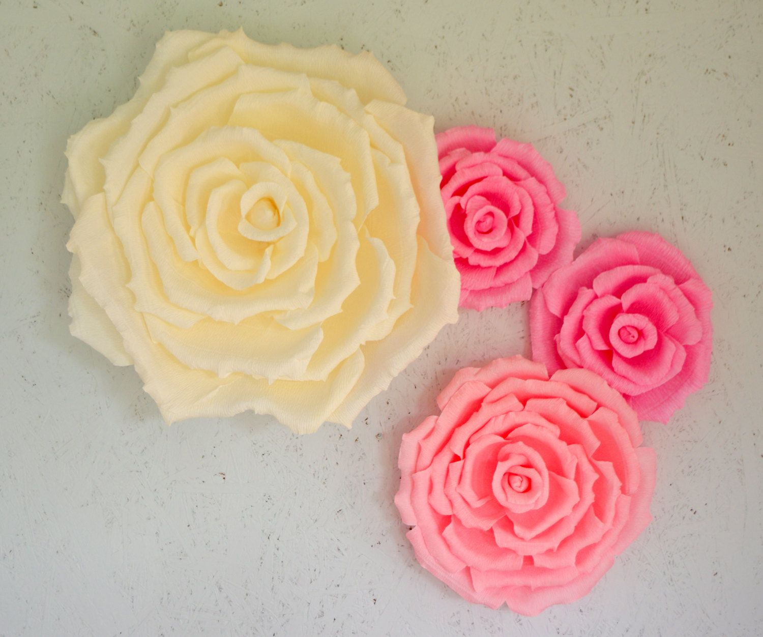 crepe paper backdrop flowers dahlias and roses by