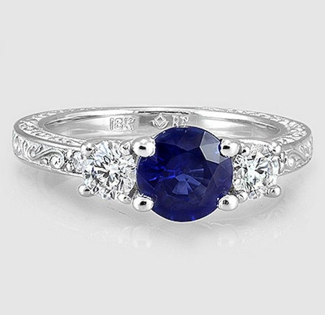 sapphire + engraved band