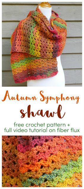 Free Crochet Pattern...Autumn Symphony Shawl! #shawlcrochetpattern