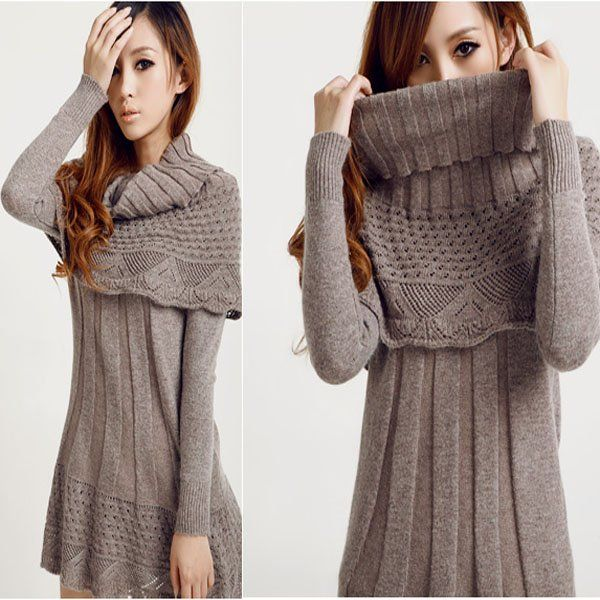 winter women long sleeve dress Sweater with cape and add leggings ...