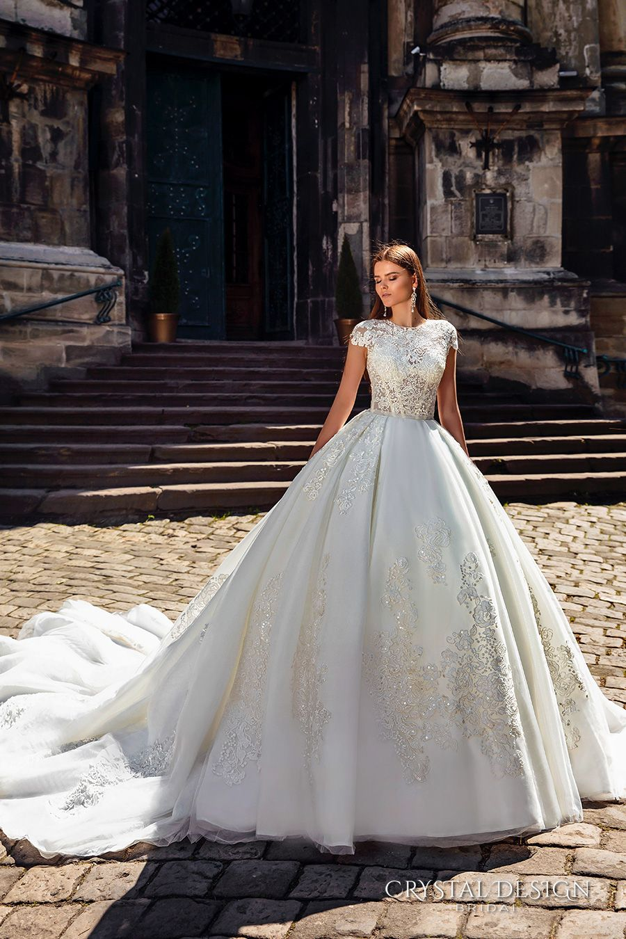 CRYSTAL DESIGN Bridal 2016 Cap Sleeves Jewel Neckline Heavily Embellished Bodice Princess Ball Gown Wedding Dress