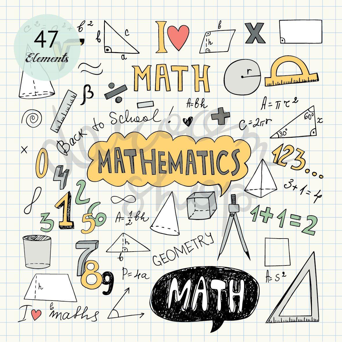 Hand Drawn Mathematics Clip Art Math Elements And Symbols Back To School Doodle Educational Collection Vector Eps Png Digital Download Buku Kliping Sampul Buku Sekolah Lucu