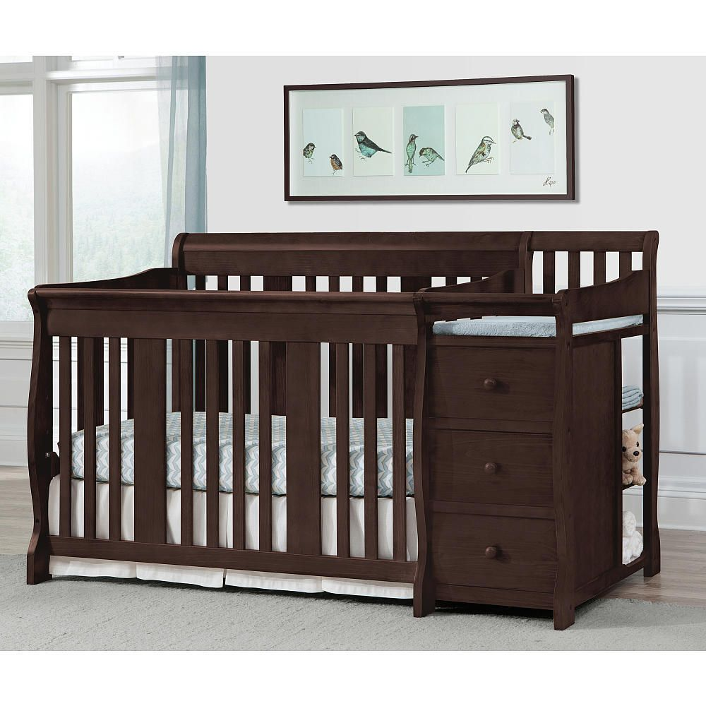 Storkcraft Baby Portofino 4 In 1 Fixed Side Convertible Crib Changer  Espresso