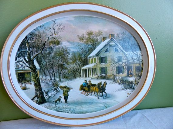 Vintage Currier and Ives Winter Scene Oval Metal Tray Gold and White The American Homestead 1868 Country