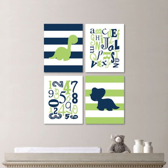Baby Boy Nursery Art Print - Dinosaur Nursery Decor - Dinosaur Nursery Art - Dinosaur Nursery - Navy Green - You Pick the Size (NS-534)