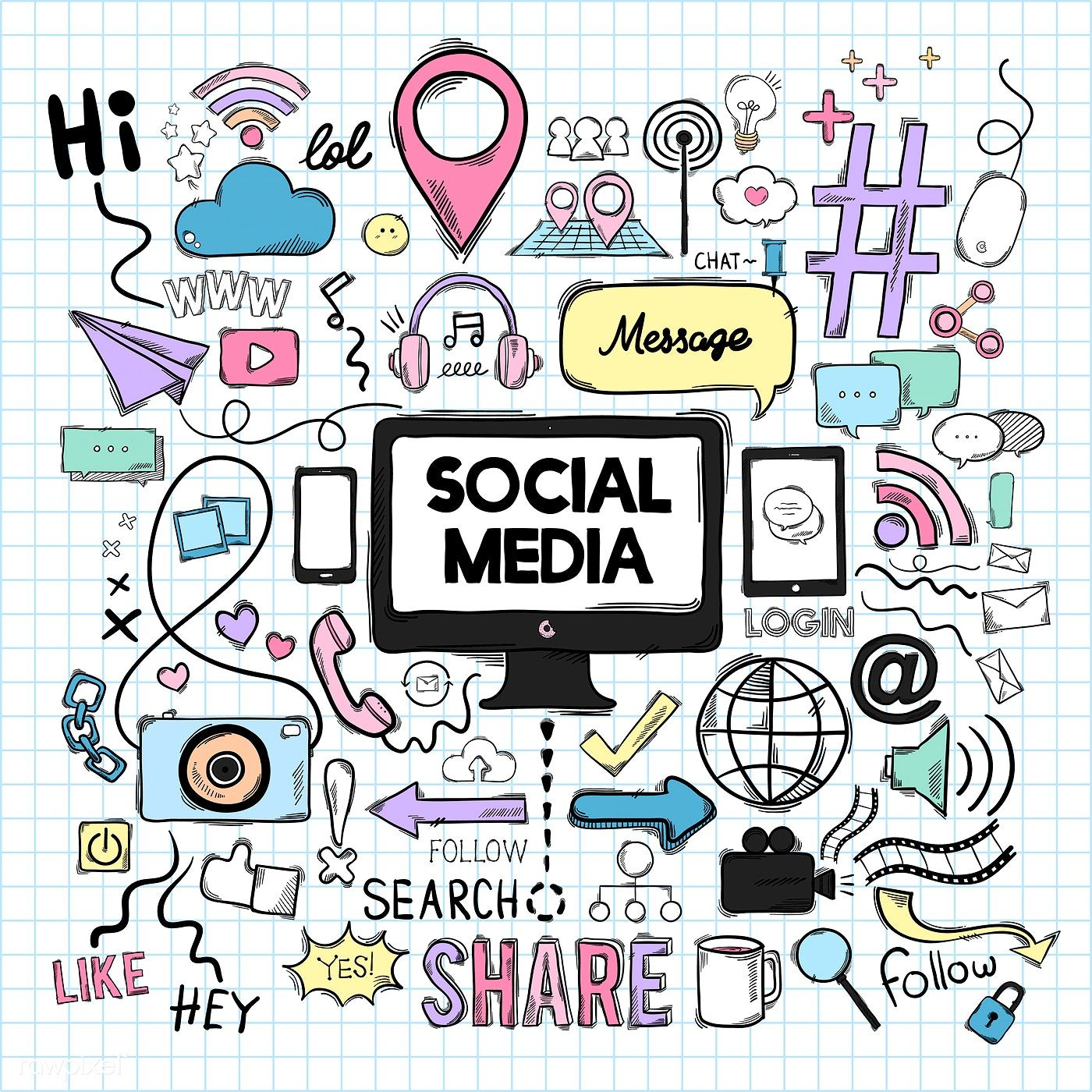 Vector set of social media icons free image by rawpixel
