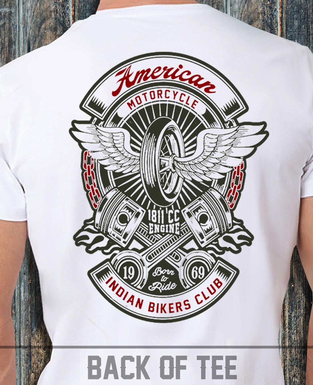 Indian Motorcycle Club T Shirt Biker Skull Skeleton Ride Moto Motorbike Chopper