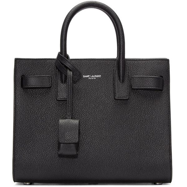 312deb00c Saint Laurent Black Nano Sac de Jour Tote (7,540 ILS) ❤ liked on Polyvore  featuring bags, handbags, tote bags, tote handbags, studded tote bag, ...