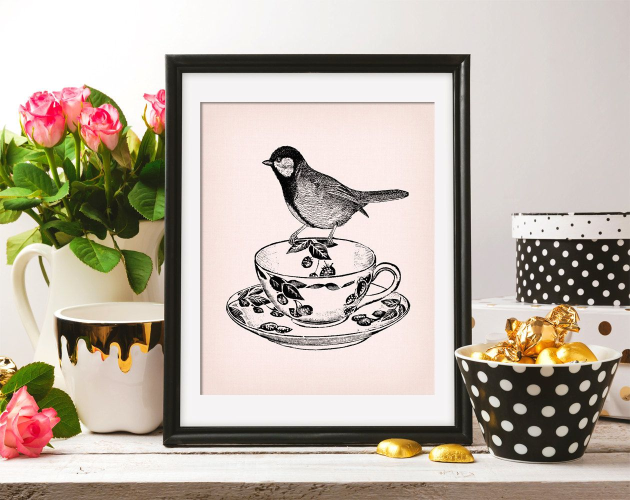 Titmouse Chickadee Bird Tea cup 8x10 On the Pink Background & Titmouse ClipArt Retro drawing Printable Image DIGITAL INSTANT DOWNLOAD HQ300 by ZikkiArt on Etsy