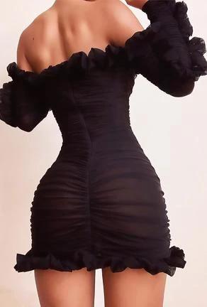 ROSALI - RUCHED & RUFFLED DRESS