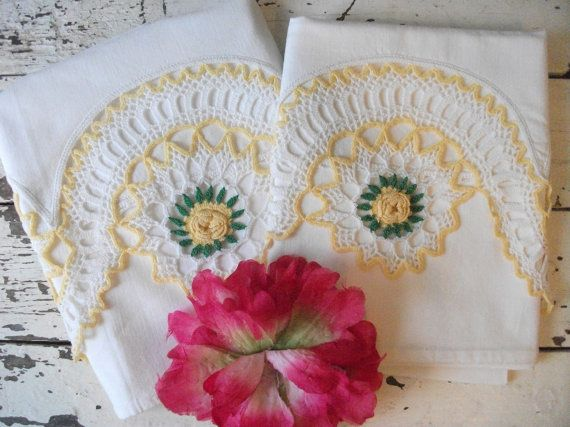 Vintage Set of Embroidered Pillowcases  Yellow by AbbyHareVintage, $11.98