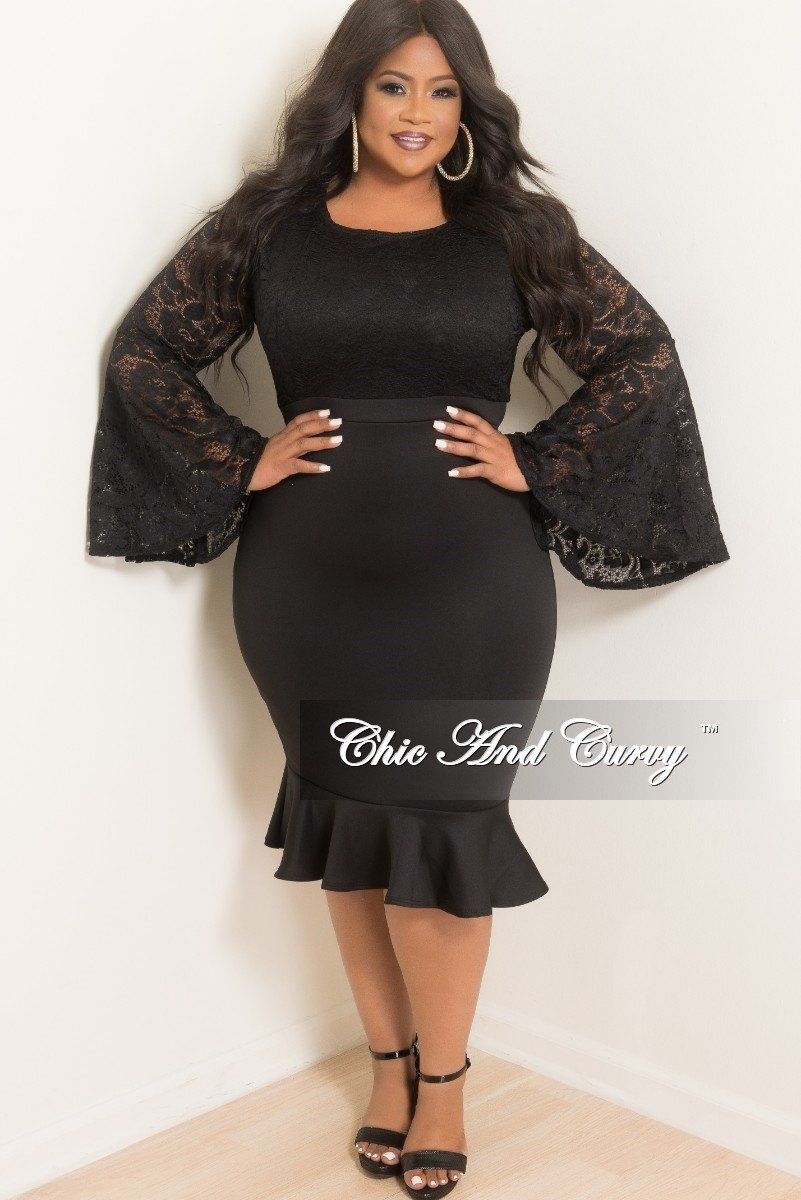 Plus Size Lace Bodycon Dress With Bell Sleeve And Ruffle Bottom In Black Chic And Curvy Clothing For Tall Women Lace Bodycon Dress Dresses [ 1200 x 801 Pixel ]