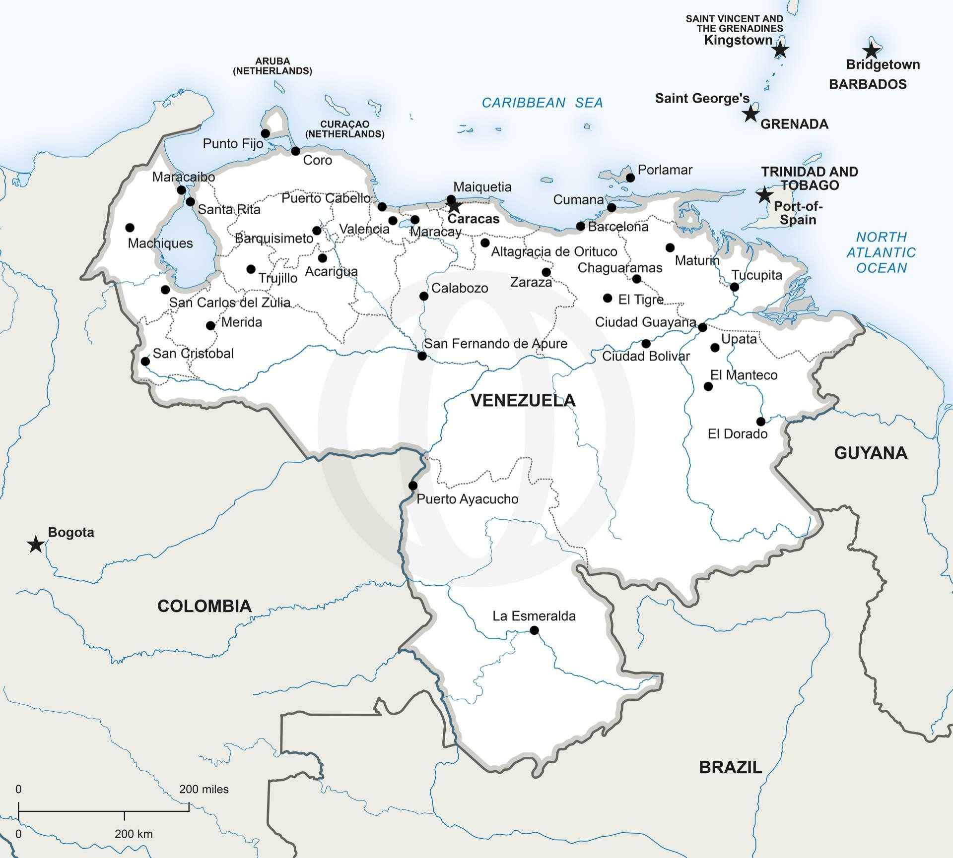 Map Of Venezuela Political Resolutions Pdf And Venezuela - United states map vector free ai