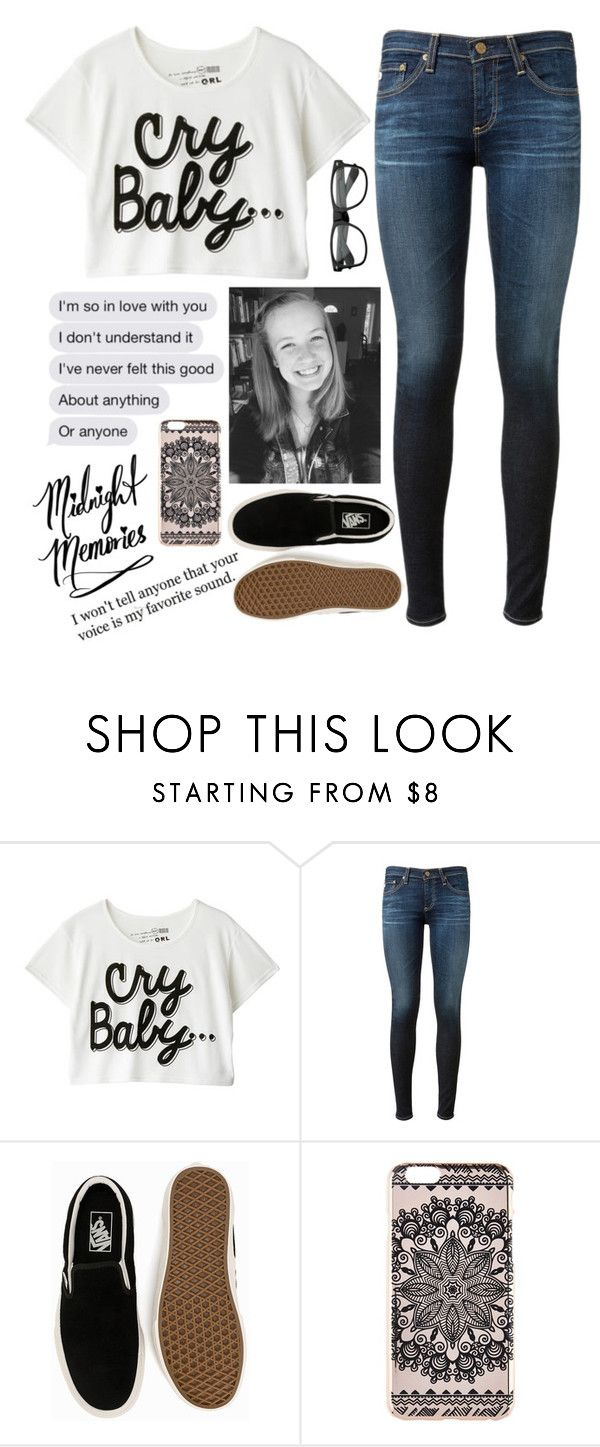 """""""Cry Baby"""" by graciegirl2015 ❤ liked on Polyvore featuring Thot, AG Adriano Goldschmied, Vans and New Look"""