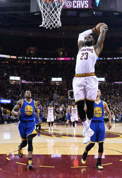 d9726aab04494 LeBron James Photos - LeBron James  23 of the Cleveland Cavaliers dunks the  ball during the first half against the Golden State Warriors in Game 6 of  the ...