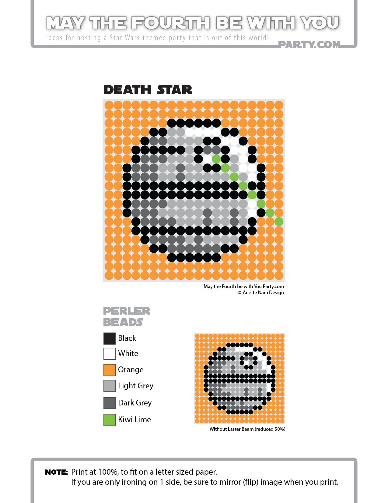 Death Star (Star Wars)Perler Pattern - May the 4th be with You Party ...