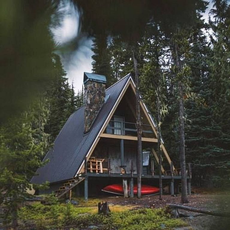 40 Unique Frame Cabin House Design To Your Inspiration House In The Woods Forest House Tiny House Cabin