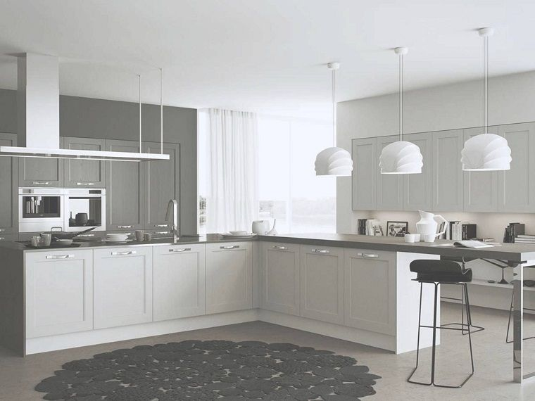 cucine moderne ad angolo-bianche-grigie | Architettura in 2019 ...