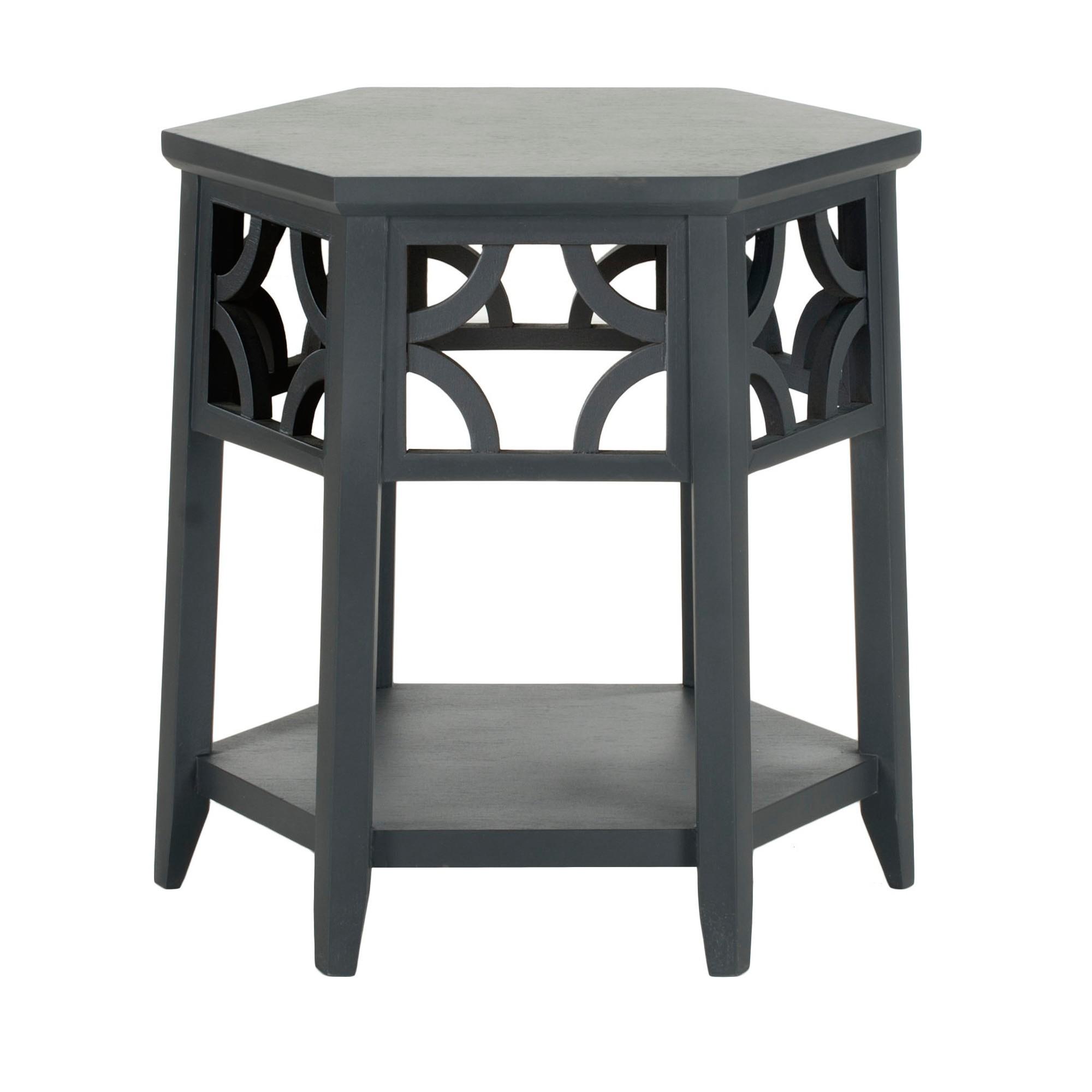 Connr hexagon end table charcoal gray safavieh wood