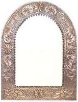 Mexican Arched Tin Framed Mirror - Coffee Cream Color