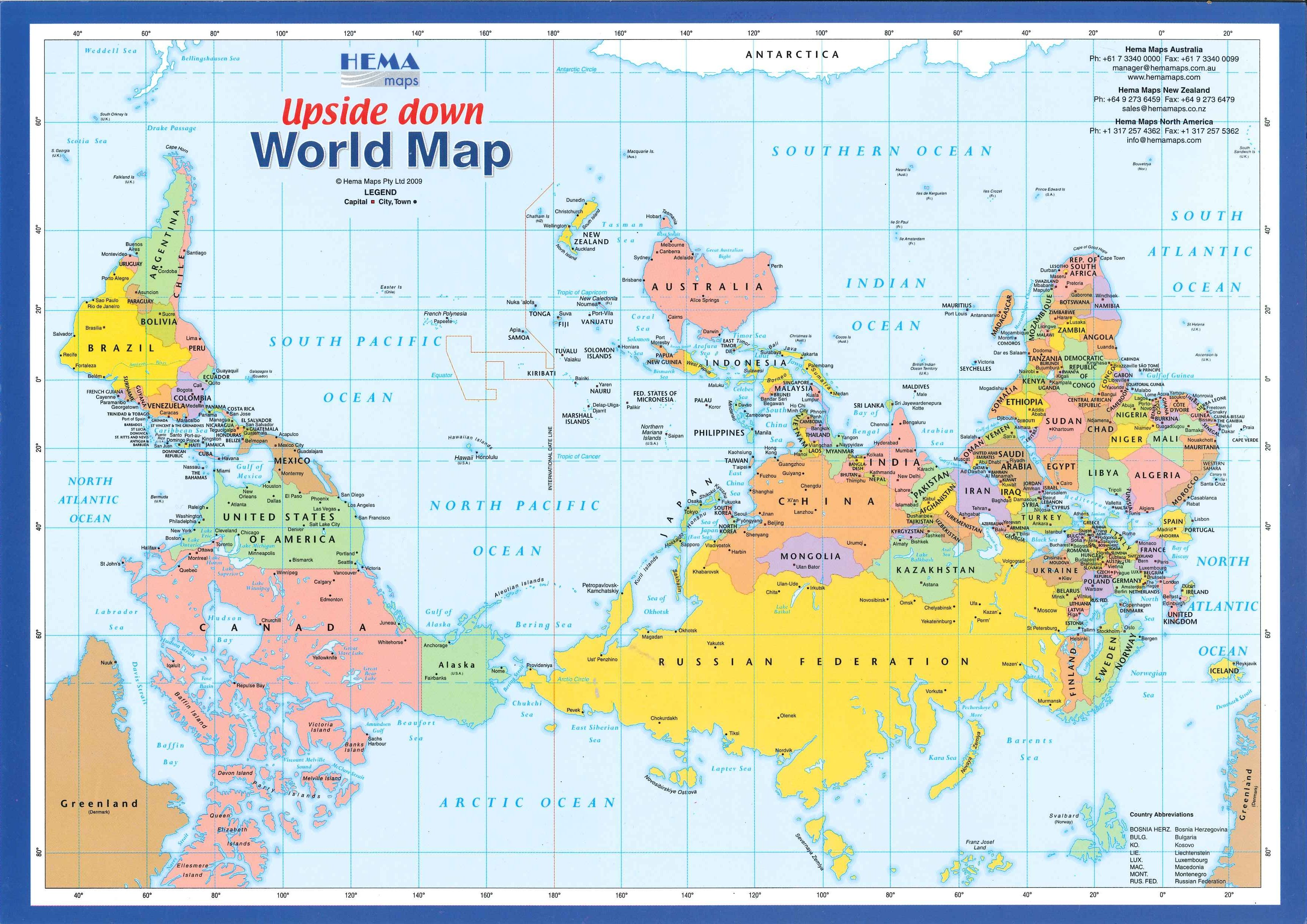 World Map Upside Down Map with a Difference ; ) ••Upside DOWN WORLD MAP•• (3508 × 2480px