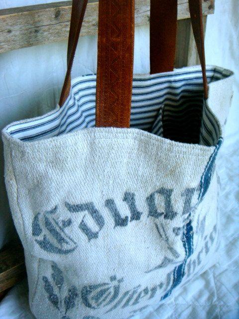 Blue Line Reconstructed Vintage Grain Sack Tote Bag