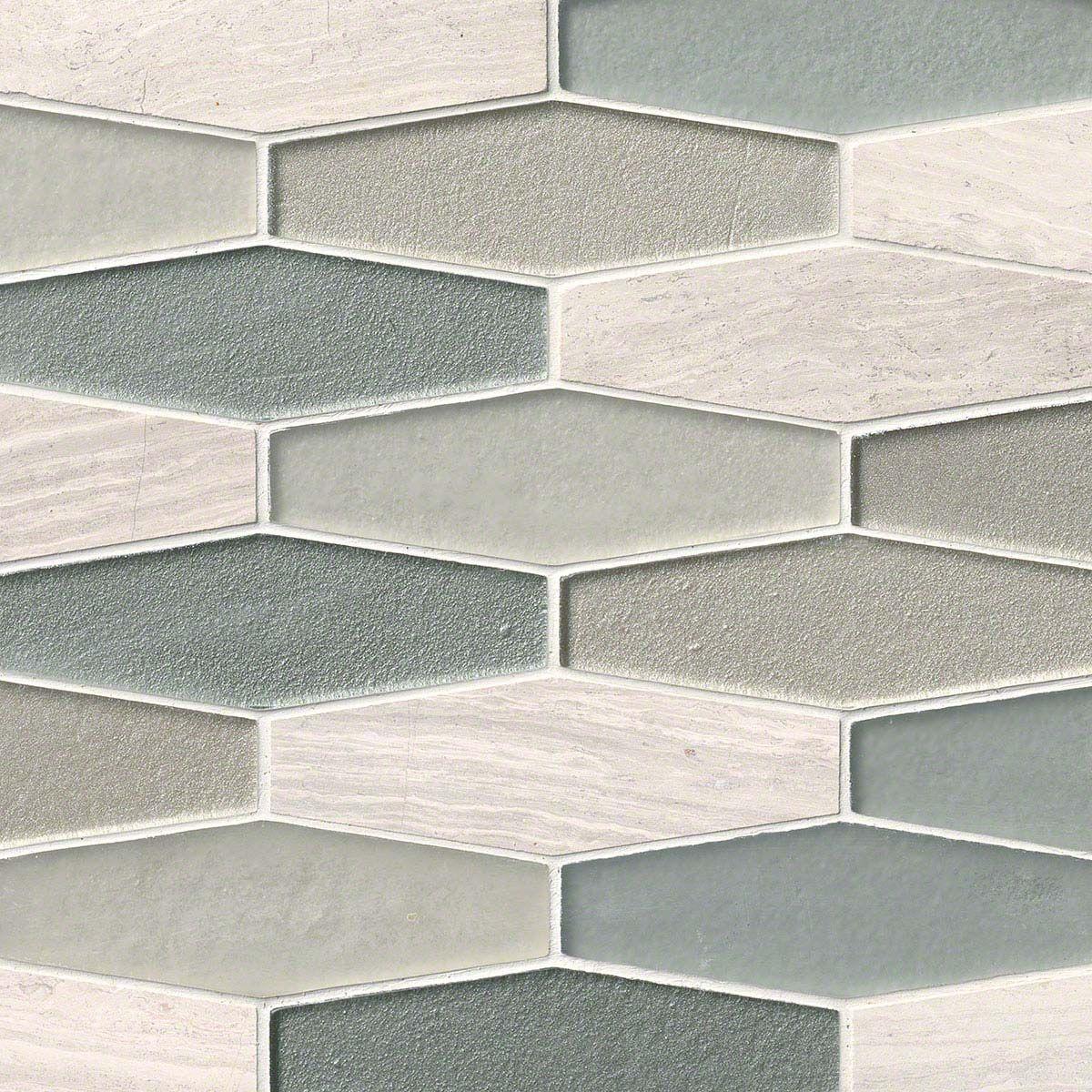 Europa Elongated Hexagon 8mm Mosaics Tile Backsplash Stone