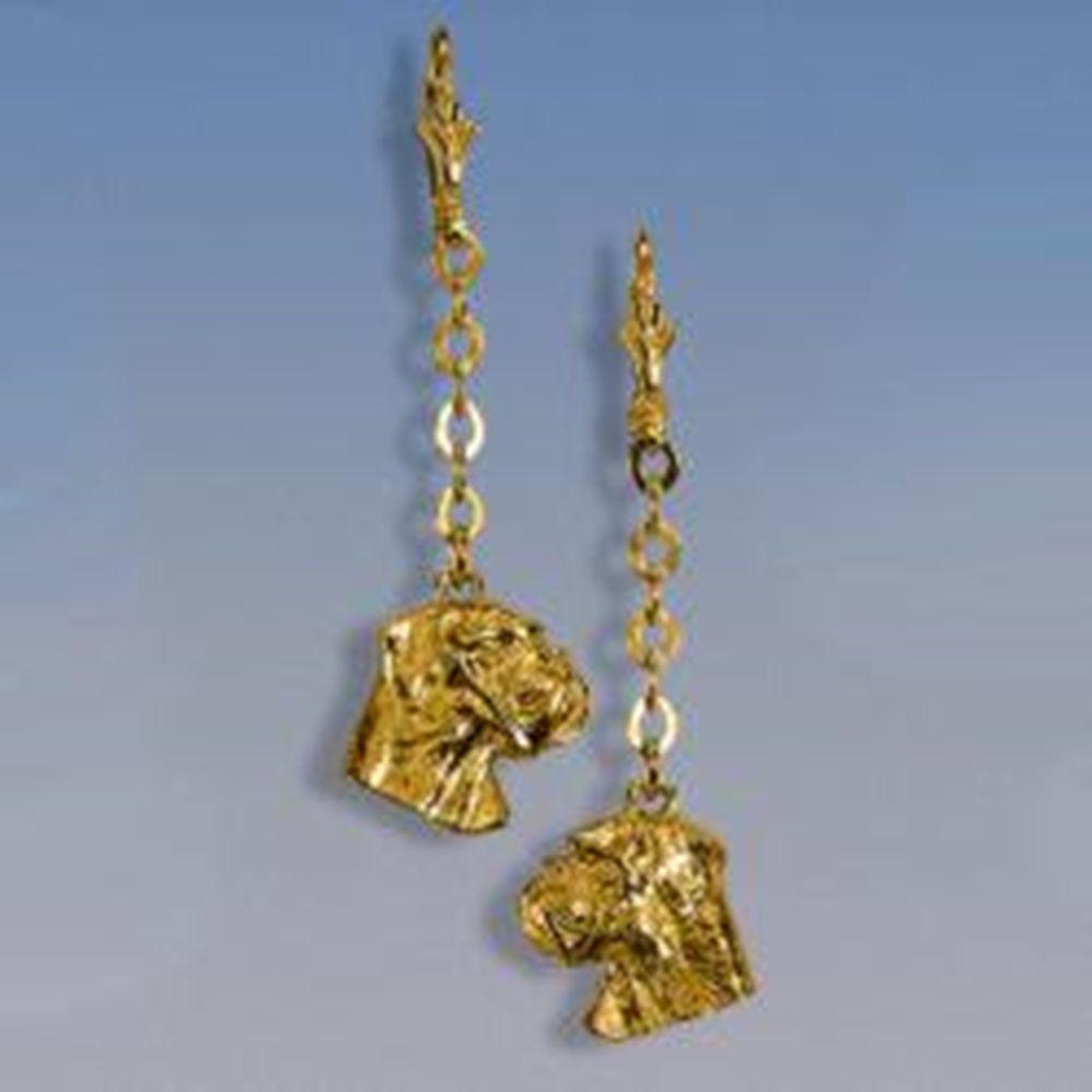 Ohrhänger Boxerkopf an Kette - Paar Breite des Kopfes 13 mm / Höhe 12 mm Gesamtlänge: 60 mm Silbergewicht: 5,5 g