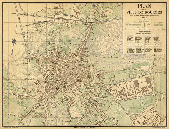 Bourges map Old map of Bourges France fine reproduction Wall