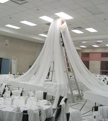 I did this myself at a wedding i did for a friend but this looks so ceiling draping kit for church liturgical seasons banners wedding ceiling decor reception decorating kits junglespirit Gallery