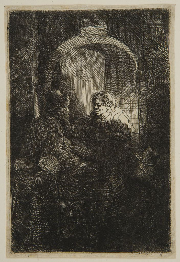 Rembrandt Harmensz van Rijn -  Schoolmaster, 1641,  Etching plate: 9.5 x 6.3 cm    Harvard Art Museums