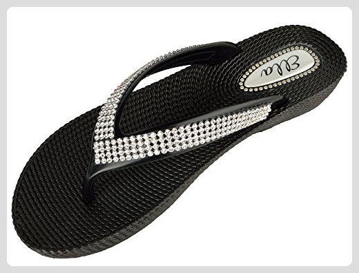 new concept b7f1b 50abb Ella Damen Strass Summer Flip Flop Sandalen Schwarz UK 3 ...