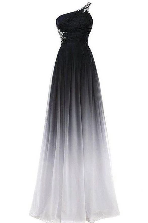A Line Chiffon Black And White One Shoulder Prom Dresses Long Ombre Evening Dresses Rs690 In 2020 Cheap Prom Dresses Long Ombre Bridesmaid Dresses Cheap Long Dresses
