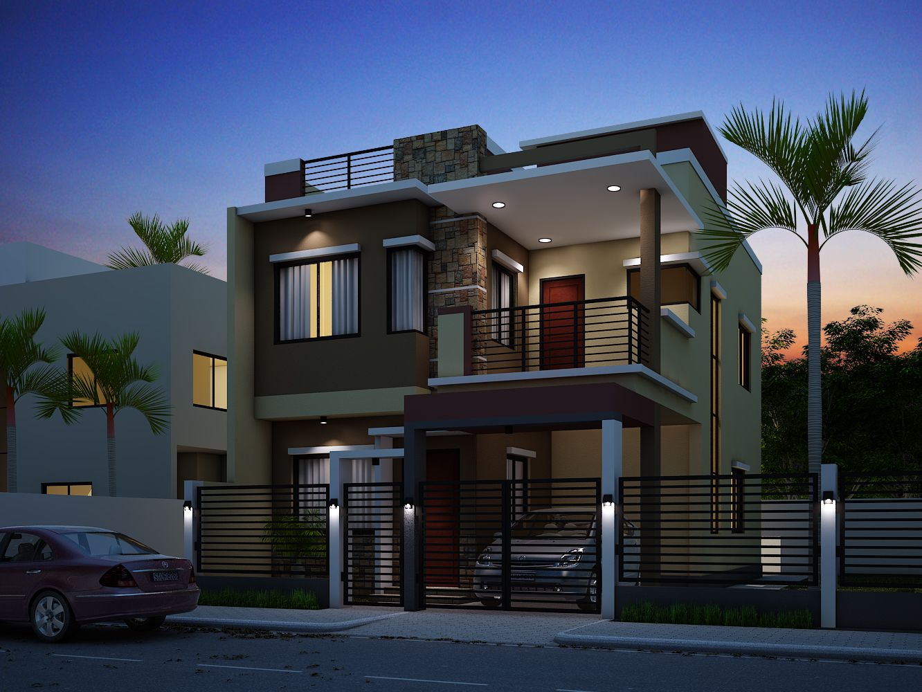 Did You Know That This Small Modern House Design Has 4 Bedrooms Yes With Only Less 100 Sq M To House Designs Exterior 2 Storey House Design Residential House