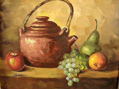 Impressionist Still Life Oil Painting Vintage Fruit Copper Tea Pot Signed Andre