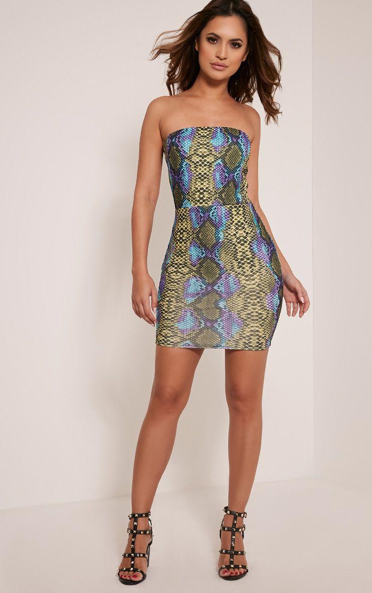 b1669e9cc2f03 Kaddy Lime Snakeskin Bandeau Bodycon Dress - Dresses - PrettylittleThing UK