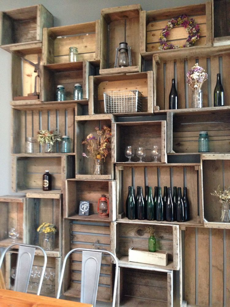 Wooden Crates On Wall Crate Shelves Bar Wine