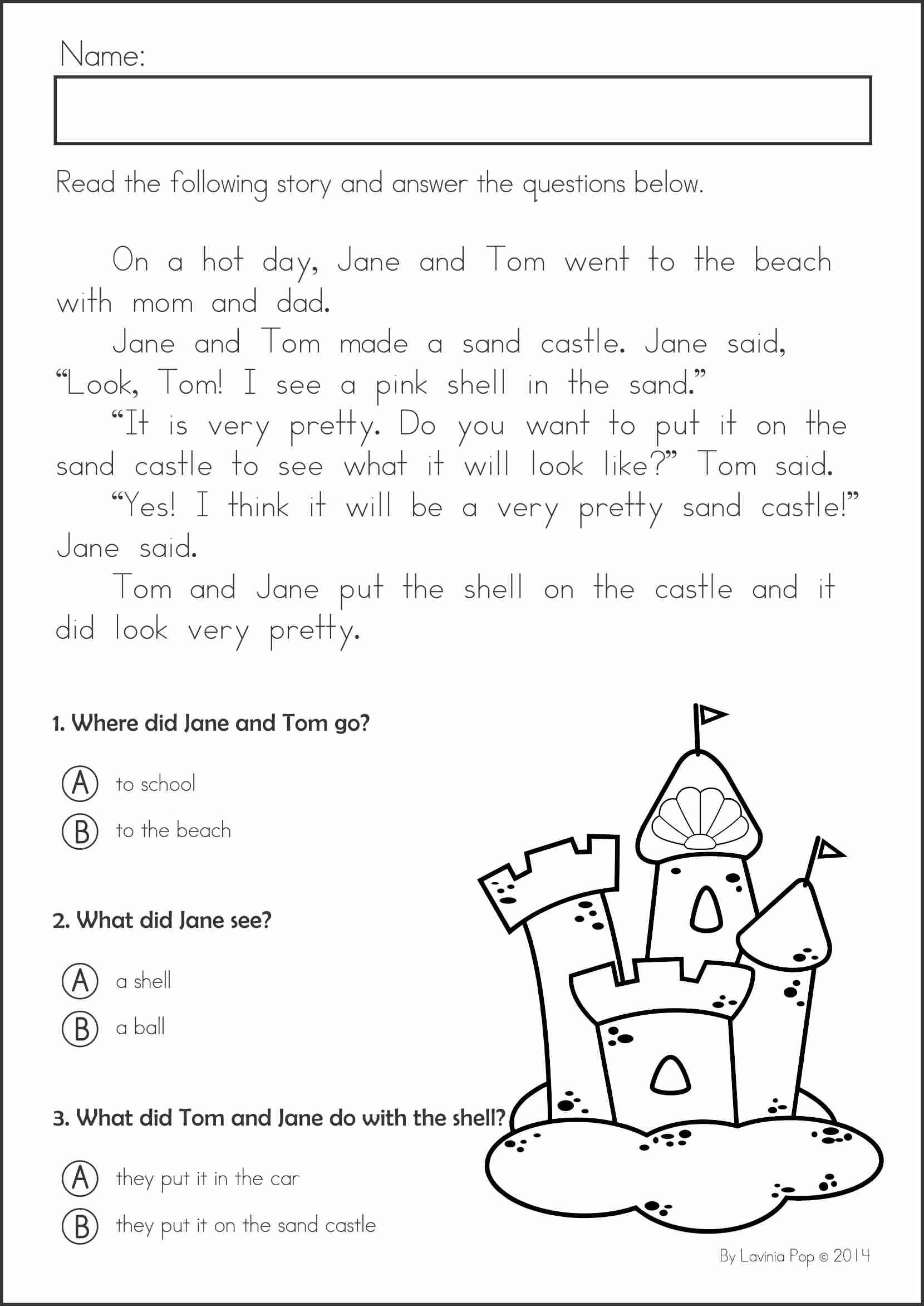 Reading Comprehension Who What Where – Free Kindergarten Reading Comprehension Worksheets