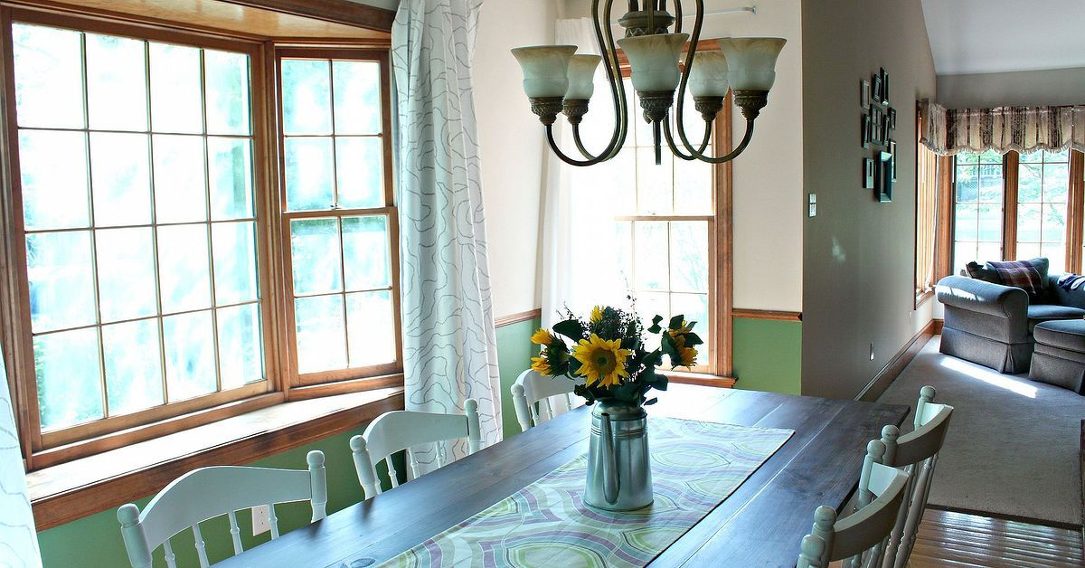 For less than $300, my husband and I built our own farmhouse table for our dining room. It seats up to 8 people and is my favorite piece in our house.  #Farmhou…