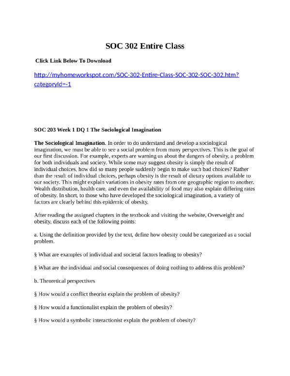 SOC 302 Entire Class Click Link Below To Download Myhomeworkspot