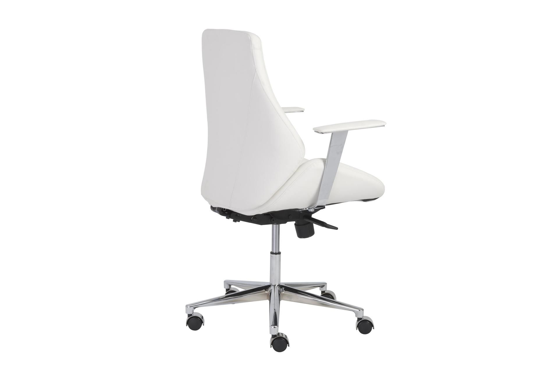 Viborg White Vegan And Chrome Low Back Desk Chair - $595