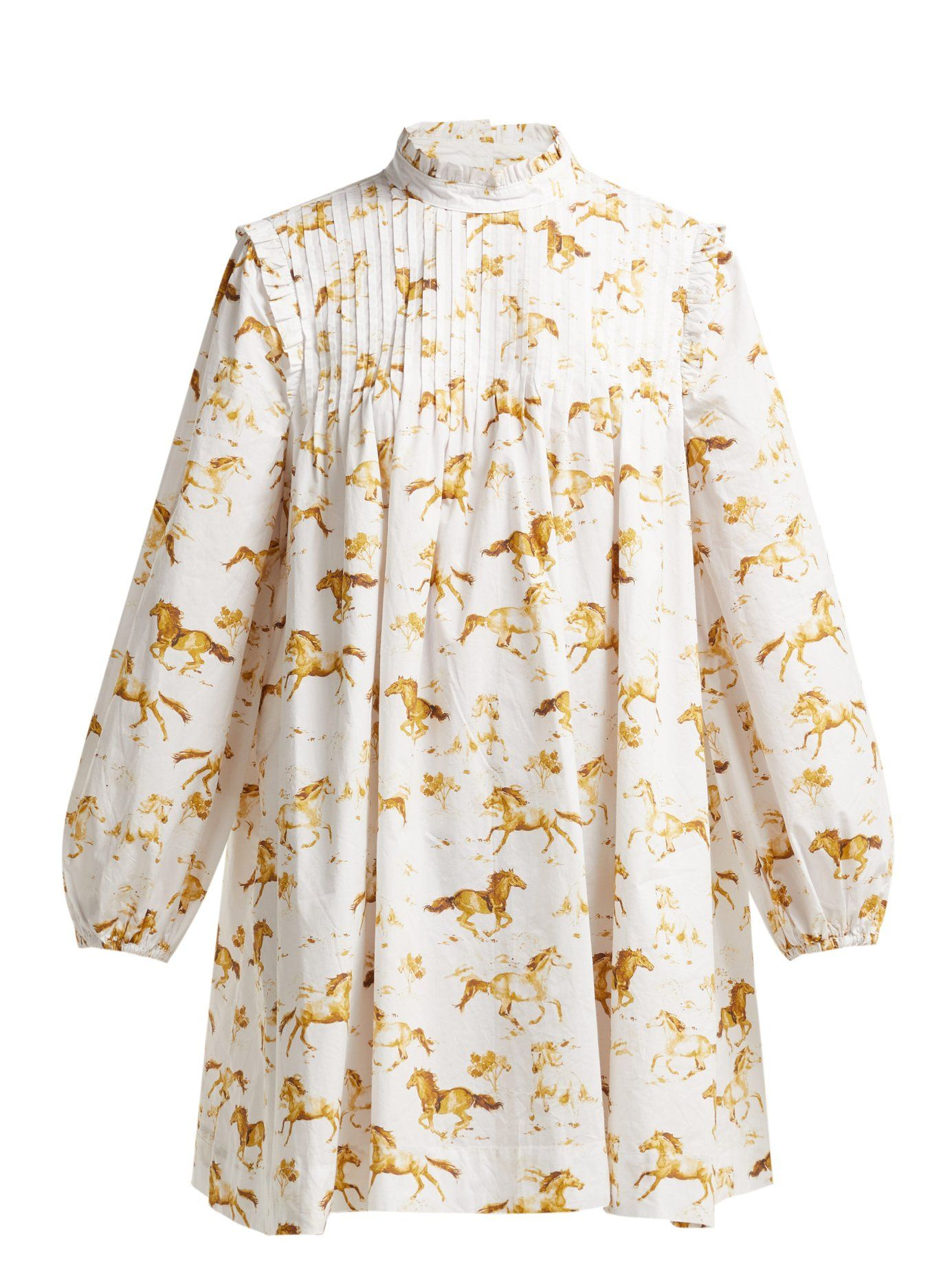 ed7fca8a Weston horse-print cotton dress | Ganni | MATCHESFASHION.COM US ...