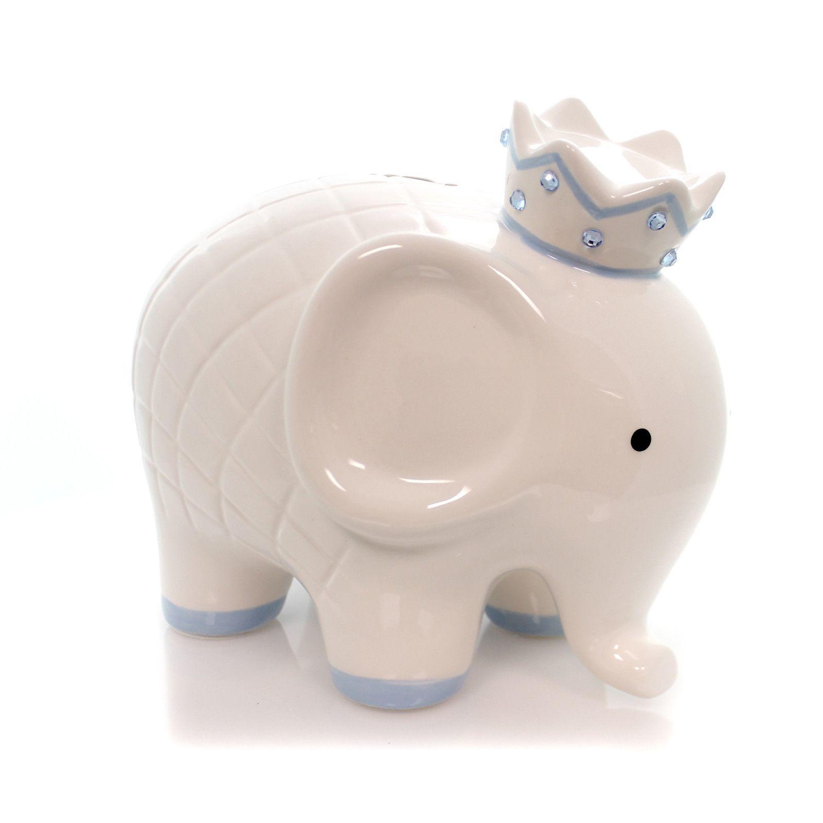 White/Blue Coco Elephant Bank Bank