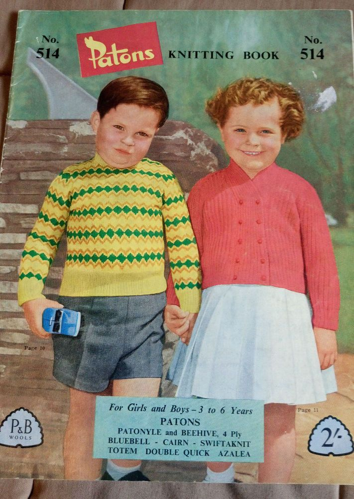 Patons Book # 514 child\'s knitwear vintage knitting pattern 3-6 years